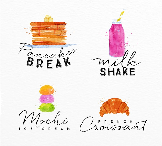 Watercolor label croissant
