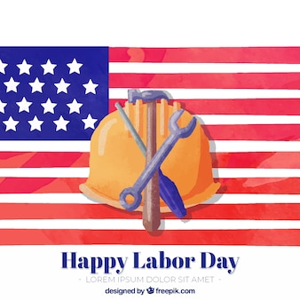 Watercolor labor day background with helmet and tools