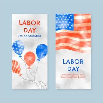 Set di banner orizzontali per la festa del lavoro dell'acquerello