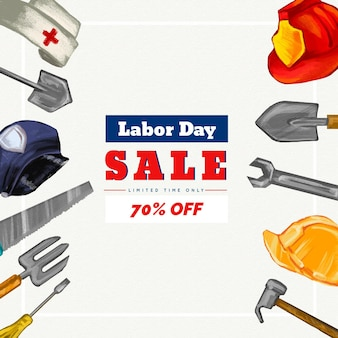 Watercolor labor day sale banner