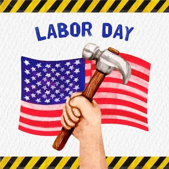 Watercolor labor day usa concept