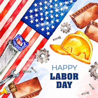 Watercolor labor day (usa) concept