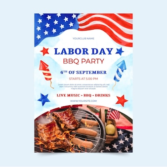 Watercolor labor day vertical poster template with photo