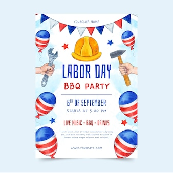 Watercolor labor day vertical poster template