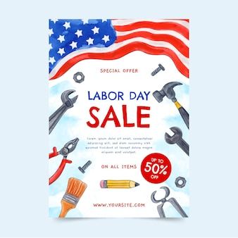Watercolor labor day vertical sale flyer template