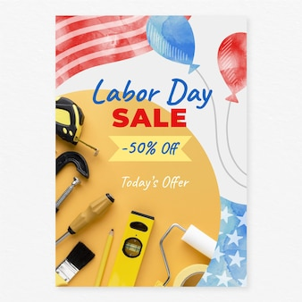Watercolor labor day vertical sale poster template with photo