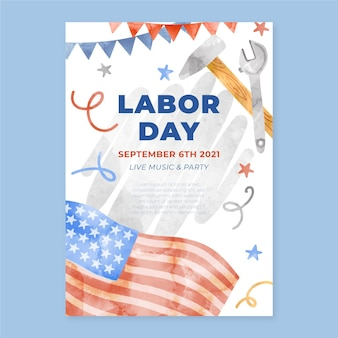 Watercolor labor day vertical sale poster template