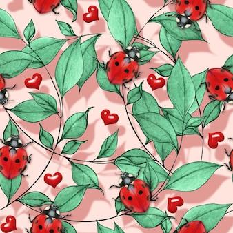 水彩てんとう虫と赤いハートのシームレスなパターン