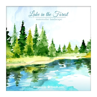 Watercolor lake in the forest background