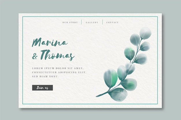 Watercolor landing page template for wedding