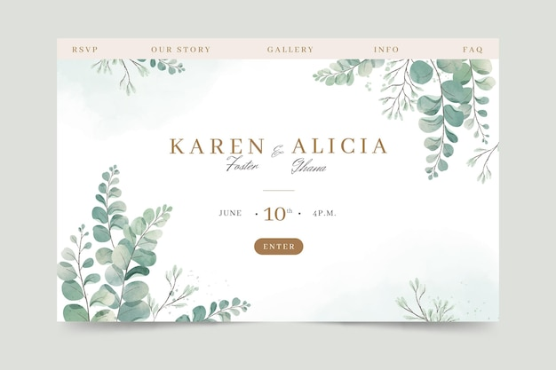 Watercolor landing page template with foliage