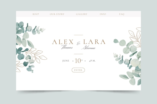 Watercolor landing page template with leafage