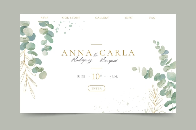 Watercolor landing page template with leaves