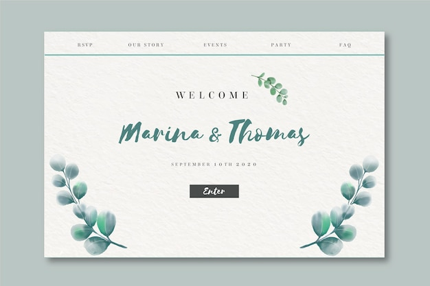Watercolor landing page for wedding