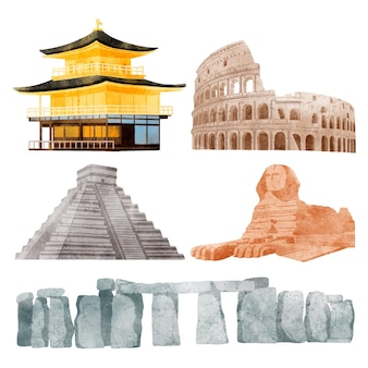 Watercolor landmarks collection