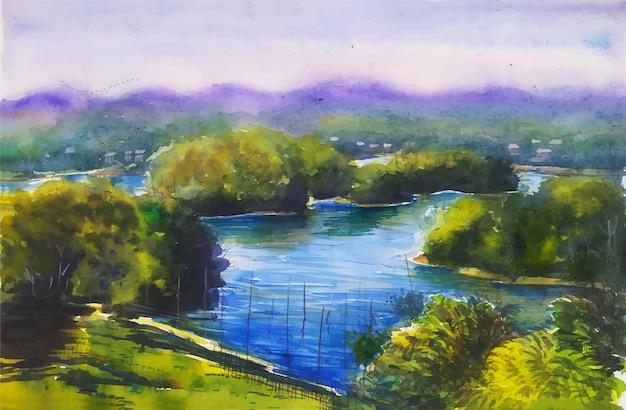 水彩風景山、木、湖の旅行場所自然風景イラストの素晴らしい景色