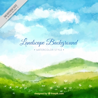 Watercolor landscape background with meadow and blue sky
