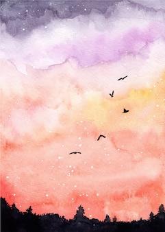 Watercolor landscape background