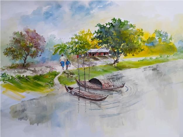 Акварельная пейзажная лодка на реке