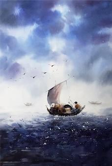 川の水彩風景手描きボート