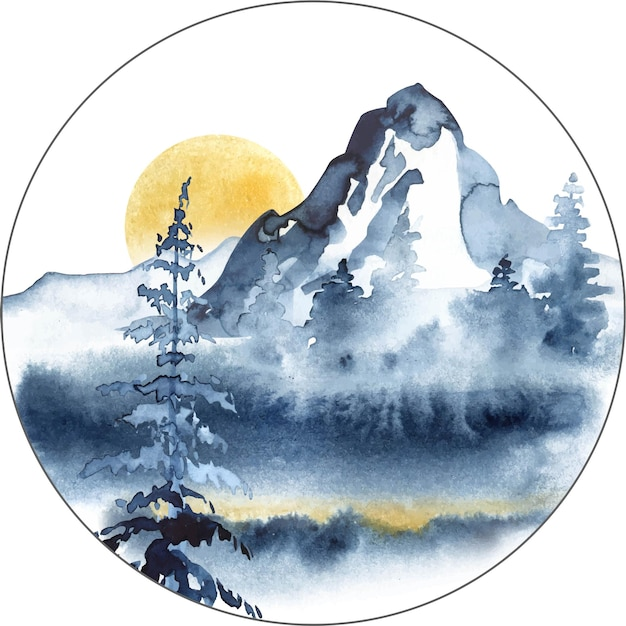 山松の木と霧と青い色の水彩画の風景