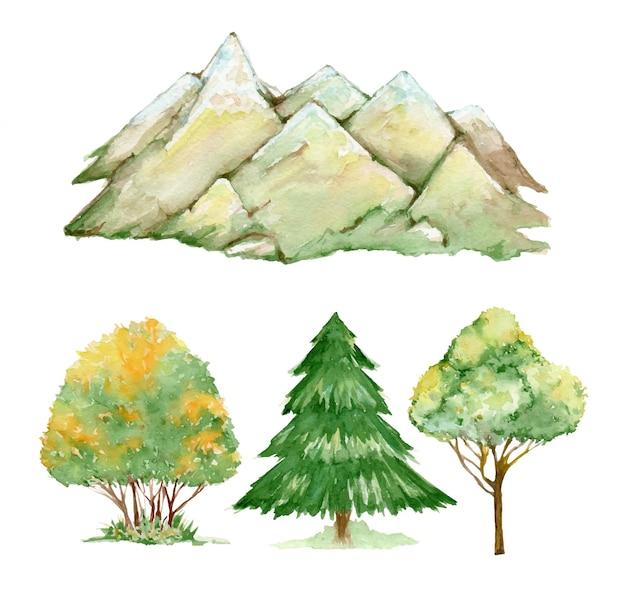 孤立した背景に、水彩画の風景。山、木、低木。