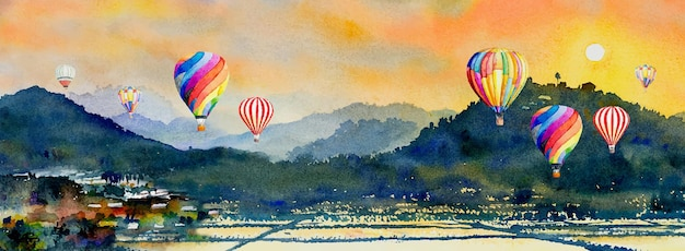 Watercolor landscape painting colorful of hot air balloon, mountain and cornfield in the panorama view and emotion rural society, nature spring in sky background.  abstract paint illustration in asia.