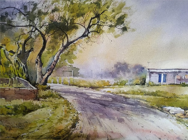Watercolor landscape painting hand drawn tree illustration