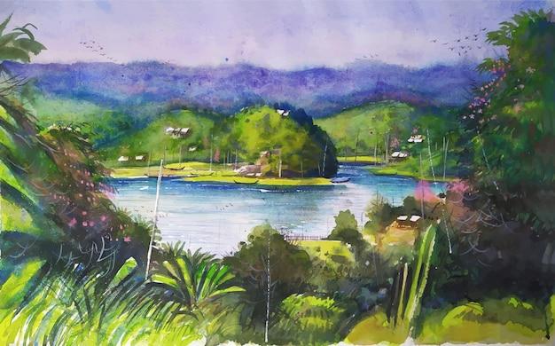 湖と密なジャングルの自然のイラストと山を描く水彩風景