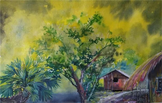 Акварельная пейзажная живопись природа