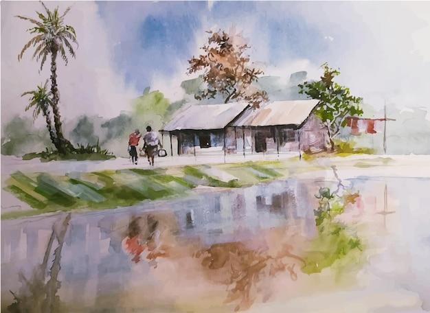 水彩風景画自然