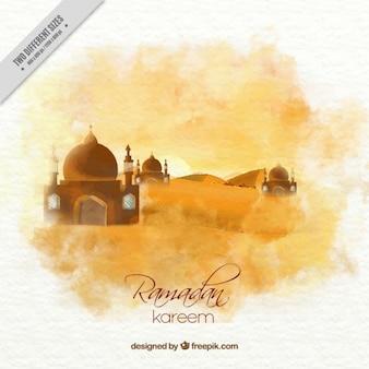 Watercolor landscape ramadan background