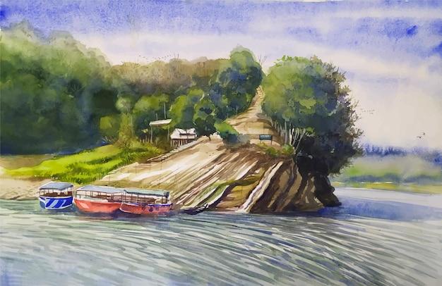 水彩風景川、ボート、山の木々美しい自然手描きイラスト