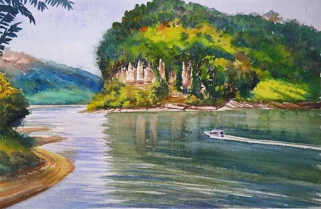 水彩風景川、山の木々美しい自然手描きイラスト
