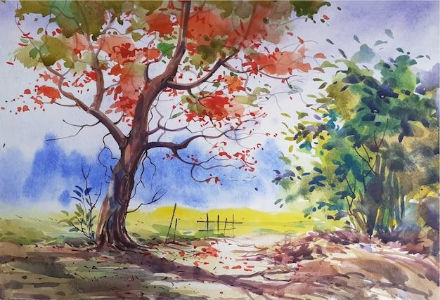 Акварель пейзаж эскиз природа