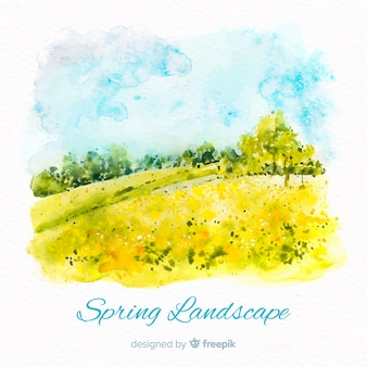 Watercolor landscape spring background