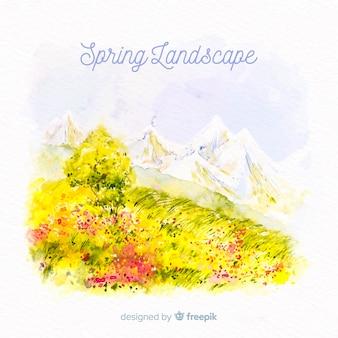 水彩風景春の背景