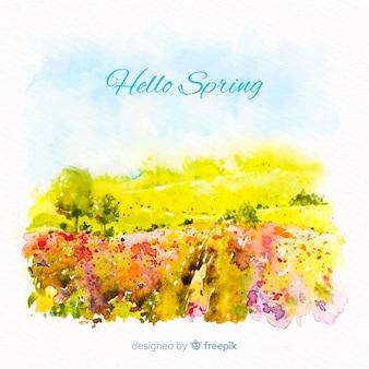 Watercolor landscape spring background