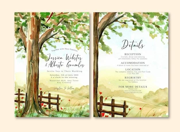 木と緑の野原の青い空と水彩風景結婚式の招待状
