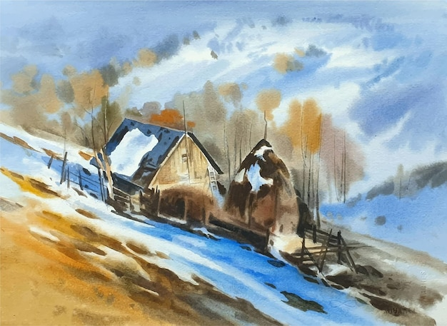 Watercolor landscape with mountains and snow illustration