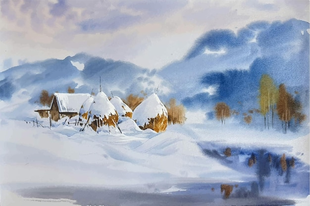 Watercolor landscape with mountains and snow paint