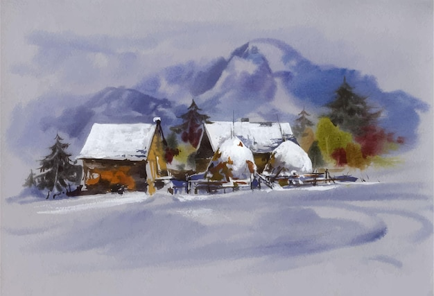 Watercolor landscape with snow and house illustration