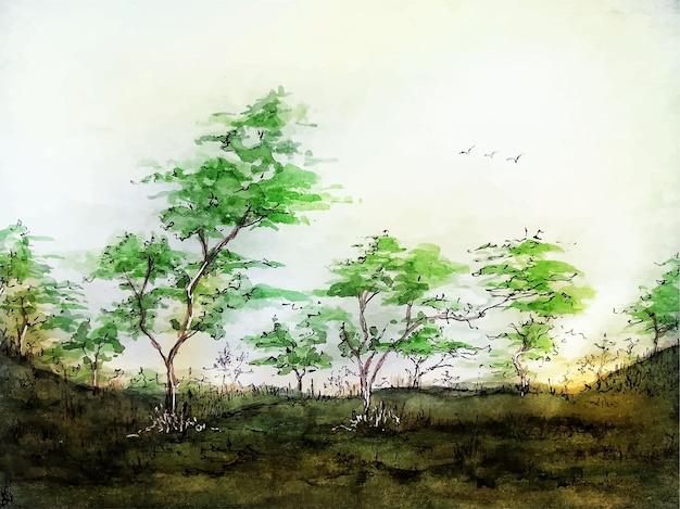 나무 추상 자연 손으로 그린 배경 수채화 풍경