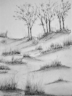 木と水彩画の風景抽象的な自然手描きの背景