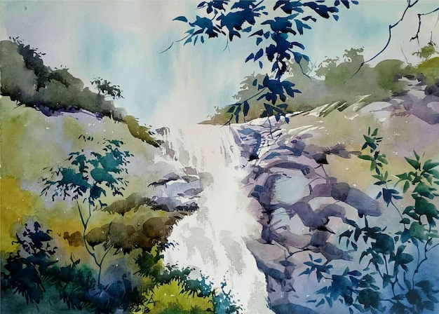 Watercolor landscape with trees and waterfall