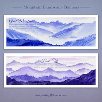 Watercolor landscapes in blue tones