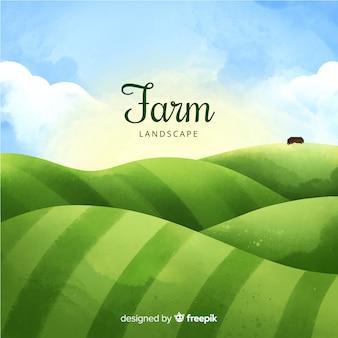 Watercolor lanscape background with farm