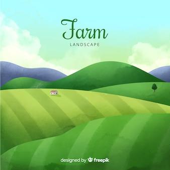 농장 수채화 자연 환경 배경