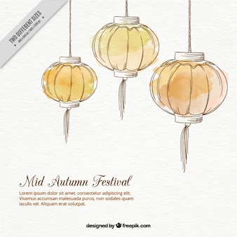 Watercolor lanterns background for mid-autumn festival