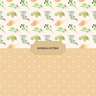 수채화 잎과 점 완벽 한 패턴